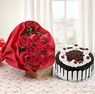 12 adet kırmızı gül 4 kişilik yaş pasta  Amasya çiçek , çiçekçi , çiçekçilik