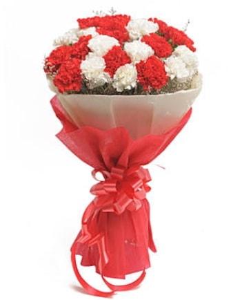 21 adet kırmızı beyaz karanfil buketi  Amasya çiçek satışı