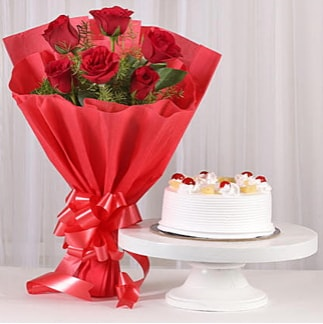 6 Kırmızı gül ve 4 kişilik yaş pasta  Amasya çiçek , çiçekçi , çiçekçilik