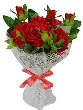 9 adet kırmızı gülden sade şık buket  Amasya çiçekçi telefonları