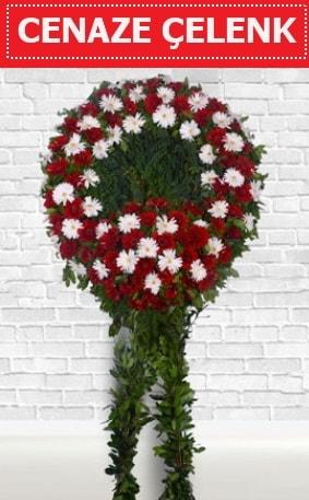 Kırmızı Beyaz Çelenk Cenaze çiçeği  Amasya İnternetten çiçek siparişi