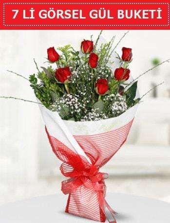 7 adet kırmızı gül buketi Aşk budur  Amasya çiçek satışı