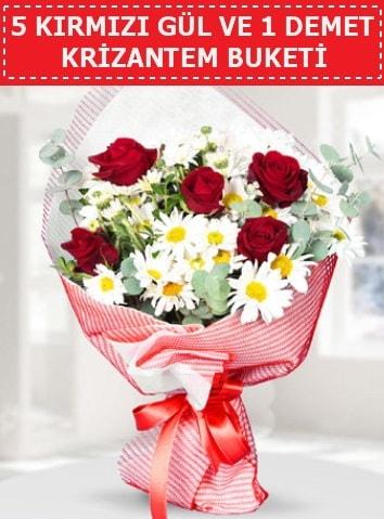 5 adet kırmızı gül ve krizantem buketi  Amasya çiçek satışı