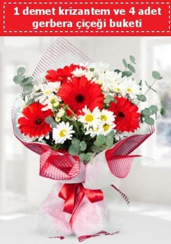 Krizantem ve Gerbera Buketi  Amasya çiçek siparişi sitesi